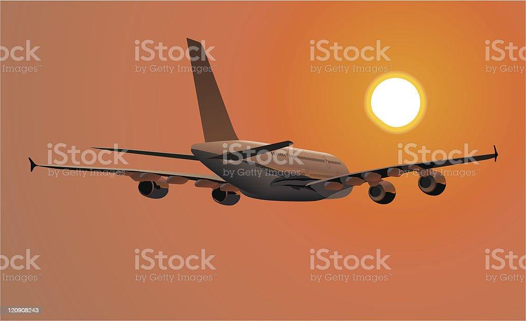 Dos pisos Lagest Jetliner A380 - ilustración de arte vectorial