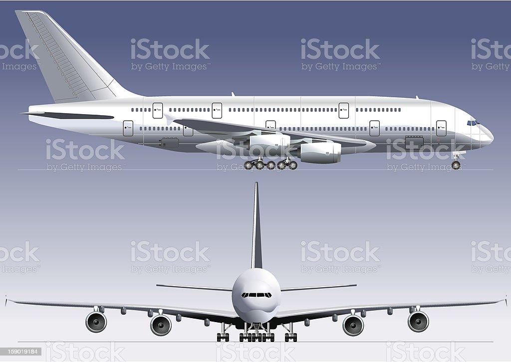 Jetliner terraza más grande con camas dobles - ilustración de arte vectorial