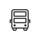 Double-decker bus front view vector outline style icon. Marking of public transport stops.