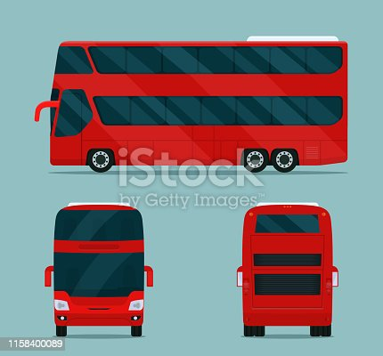 Double-decker bus isolated. Bus with side view, back view and front view. Vector flat style illustration.