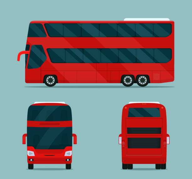 Double-decker bus isolated. Bus with side view, back view and front view. Vector flat style illustration. vector art illustration