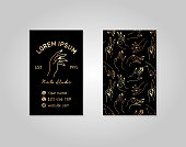 Double-sided black gold business card with a female hand in a trendy linear style. Vector  for a beauty salon or a manicurist. template for packaging hand cream or nail Polish, soap, beauty store