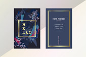 Template of double sided business card in dark blue, pastel pink and gold colors. Artistic texture. Brush strokes. The cover and reverse side. Strict style. Personal badge.