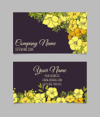 Double-sided floral  business card with yellow exotic flowers on dark background