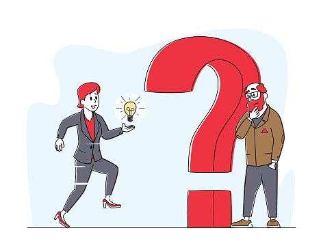 Doubts and Confusion Concept. Thoughtful and Doubtful Business Characters Thinking Under Huge Question Mark