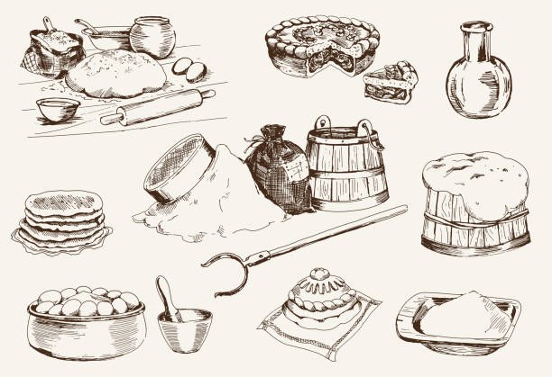 illustrazioni stock, clip art, cartoni animati e icone di tendenza di impasto per il pane in casa - impastare