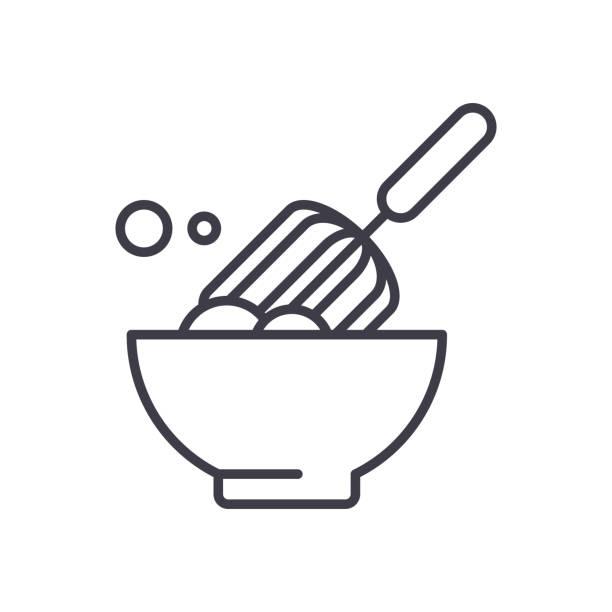 illustrazioni stock, clip art, cartoni animati e icone di tendenza di dough making black icon concept. dough making flat  vector symbol, sign, illustration. - impastare