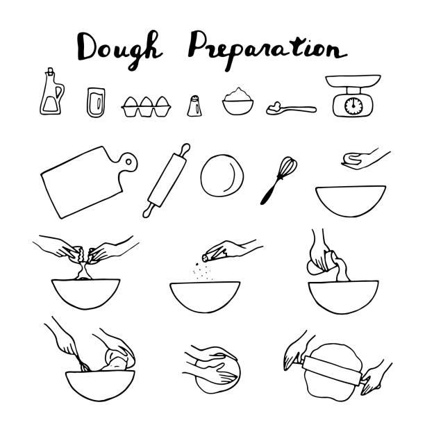 illustrazioni stock, clip art, cartoni animati e icone di tendenza di dough preparation icon set. hand drawn illustration. - impastare