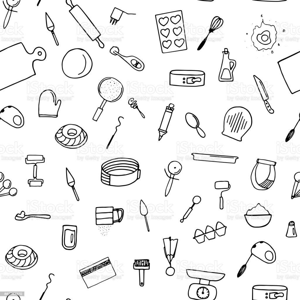 Dough preparation seamless pattern. vector art illustration