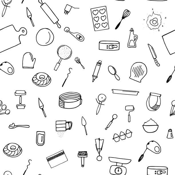 illustrazioni stock, clip art, cartoni animati e icone di tendenza di dough preparation seamless pattern. - impastare