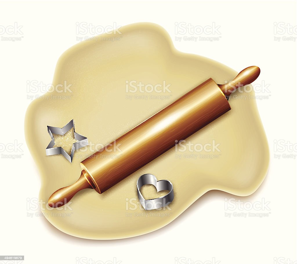 Dough, rolling pin, cookie cutters. Vector royalty-free stock vector art