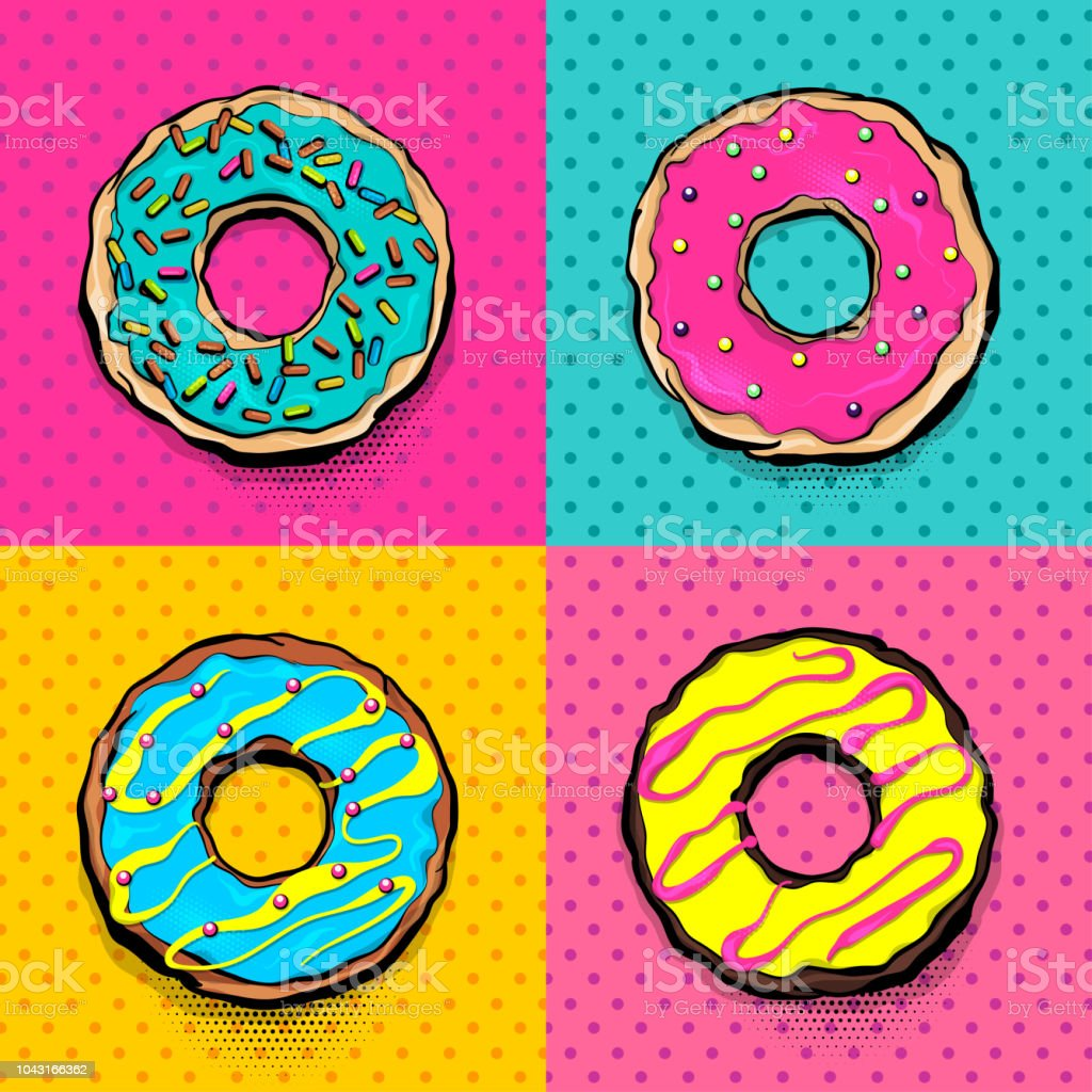 Doughnut Donut Cartoon Pop Art Stock Illustration Download Image