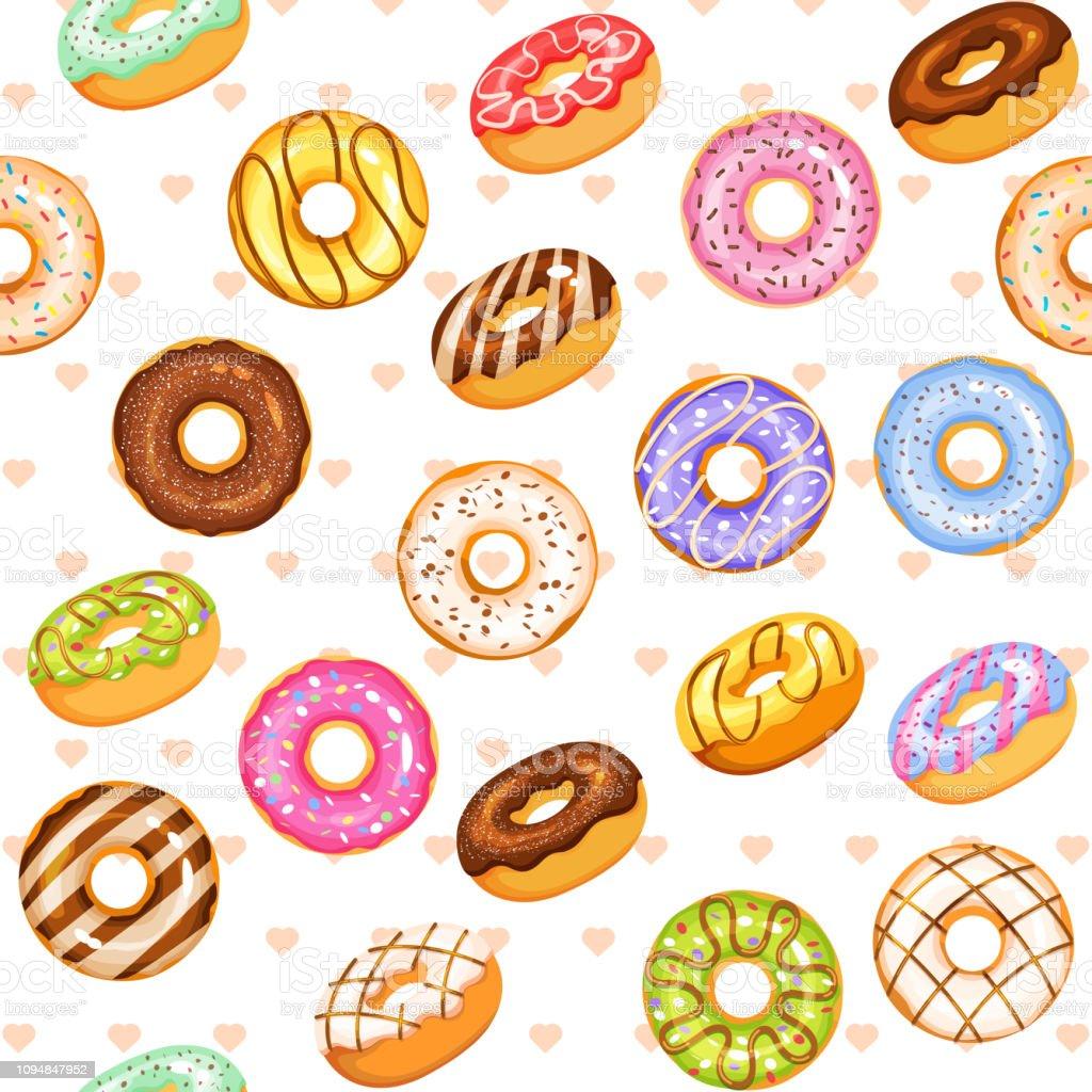 ドーナツ ベクトル セットカラフルな美味しいお菓子のイラスト おやつのベクターアート素材や画像を多数ご用意 Istock
