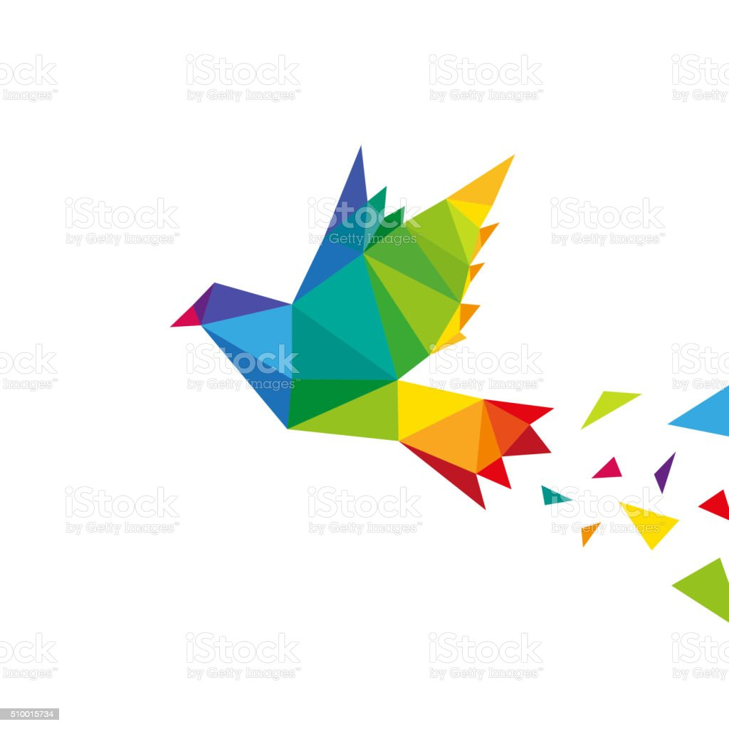 Dove abstract triangle isolated on a white backgrounds, vector illustration vector art illustration