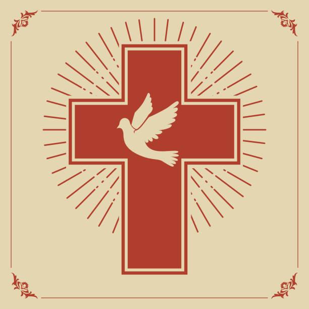 dove and cross - religious symbols stock illustrations, clip art, cartoons, & icons