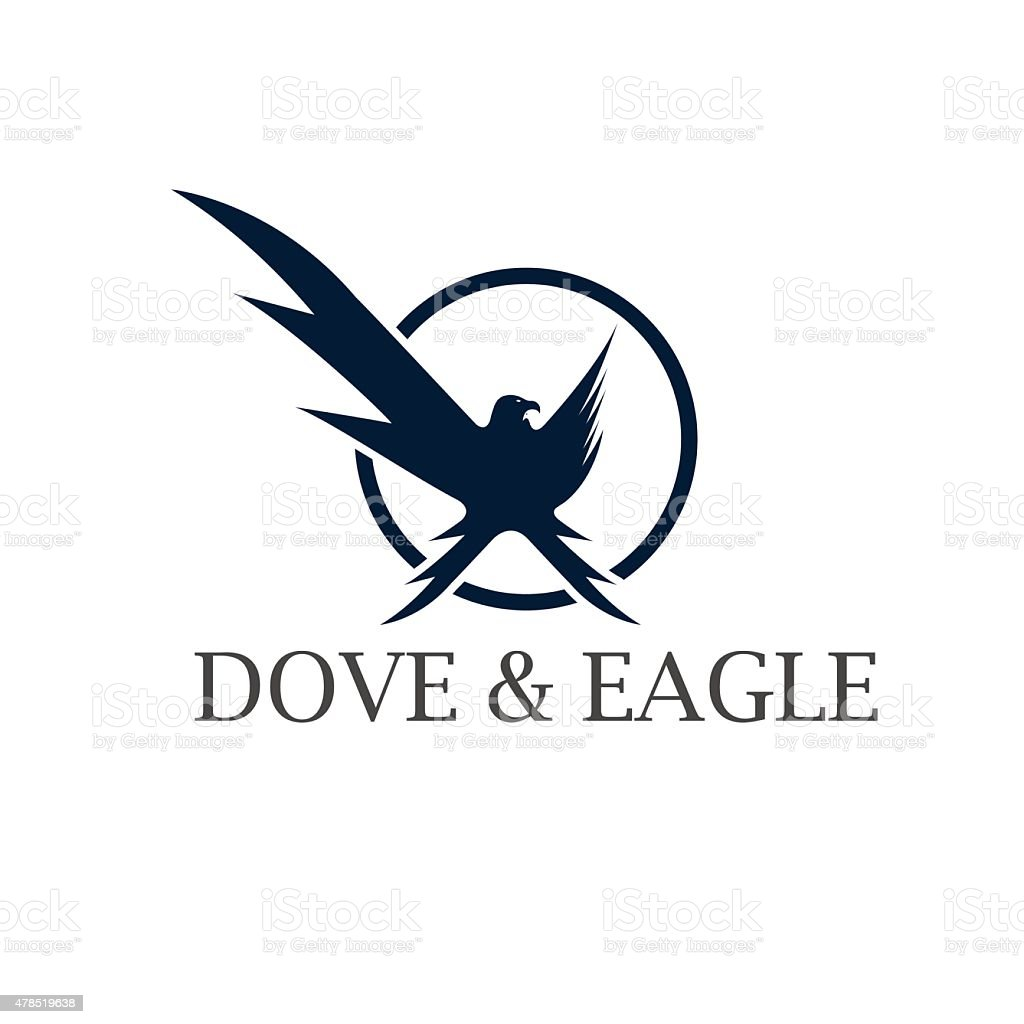 dove and eagle negative space concept vector design template stock