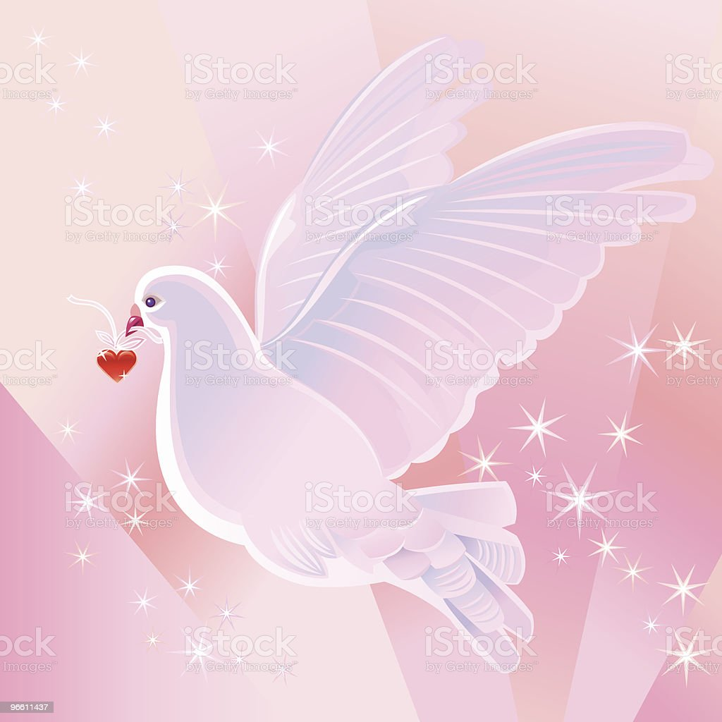 Dove and Heart - Royalty-free Animal Body Part stock vector