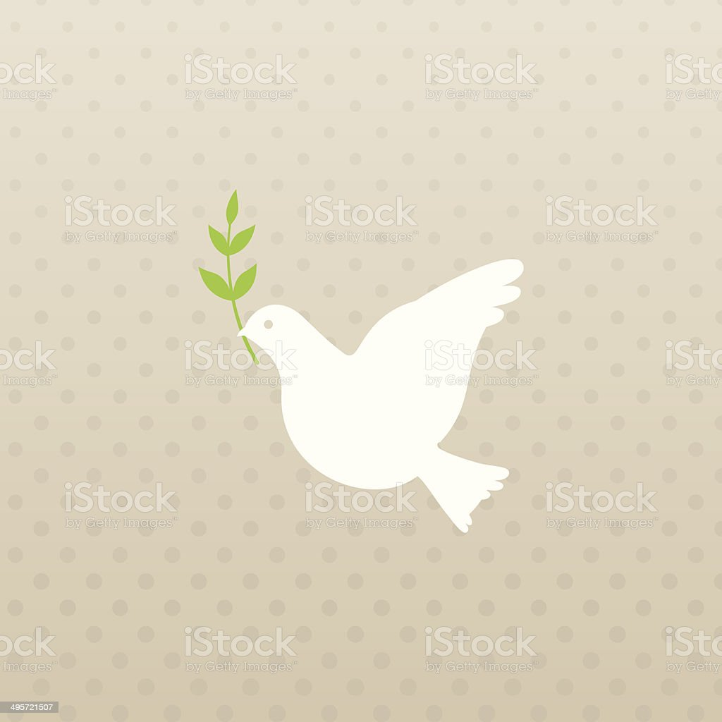 Dove and olive branch vector art illustration
