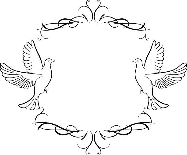 Dove and ornaments background Vector illustration of dove and frame background artistical stock illustrations