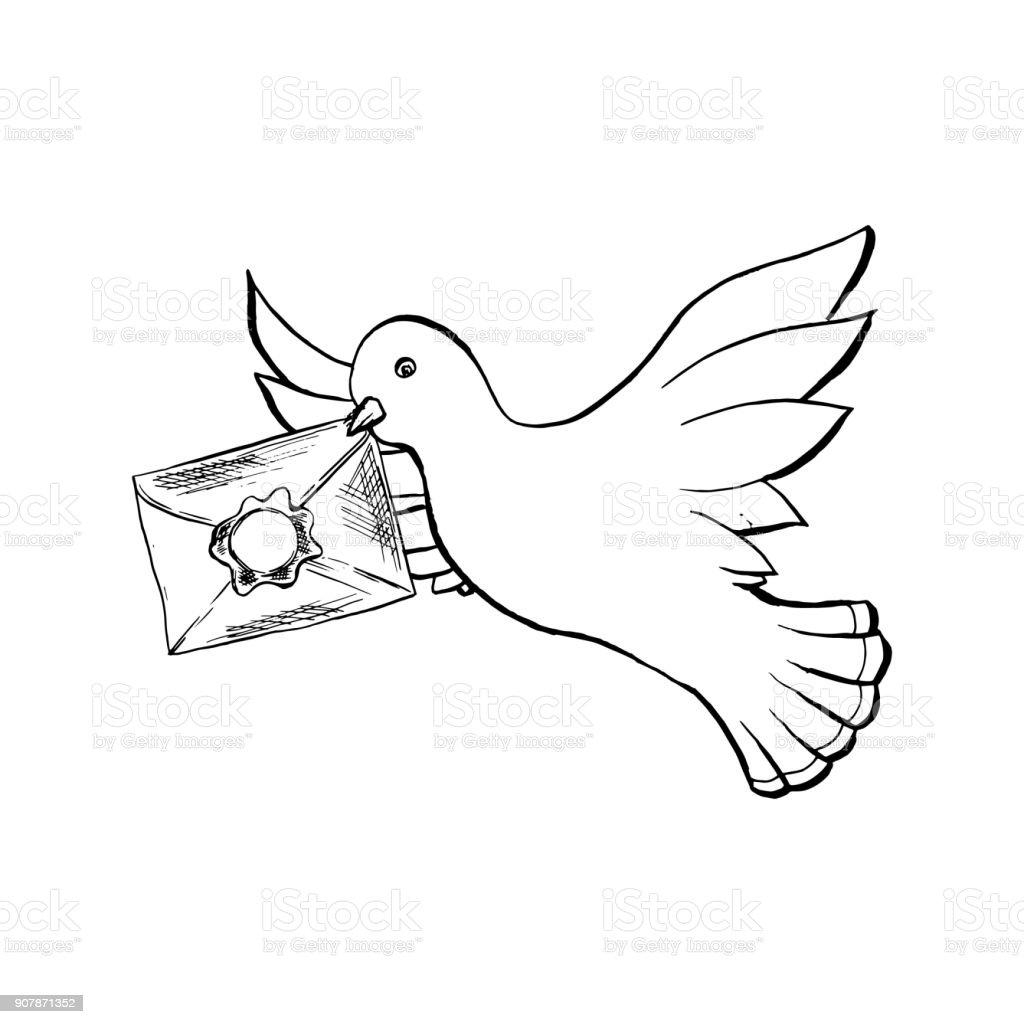 Colombe Oiseau Qui Vole Avec Enveloppe Dans Le Style De