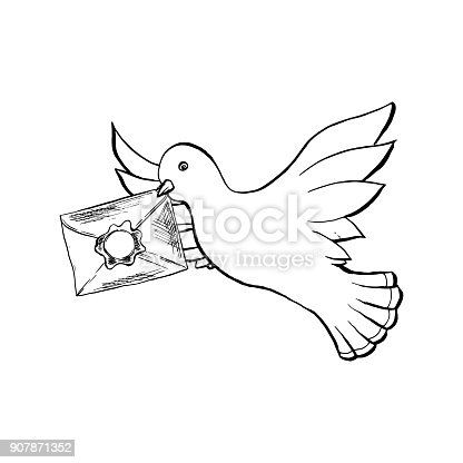 Dove Bird Flying With Envelope In Sketch Style Outline Or Contour Drawing Stock Vector Art More Images Of Abstract 907871352