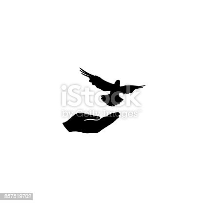 Dove bird free with hand. Bird flighing. Peace symbol. Pigeon and hand silhouette. freedom sign.
