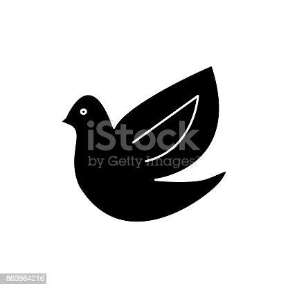 istock dove, bird  icon, vector illustration, sign on isolated background 863964216