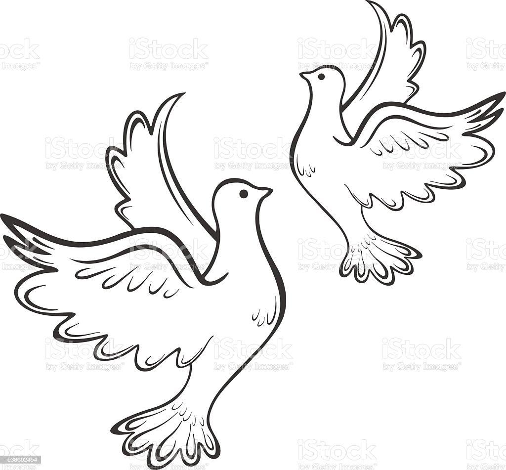 Dove Bird Silhouette Vector Mens Tattoo Womens Tattoo Stock