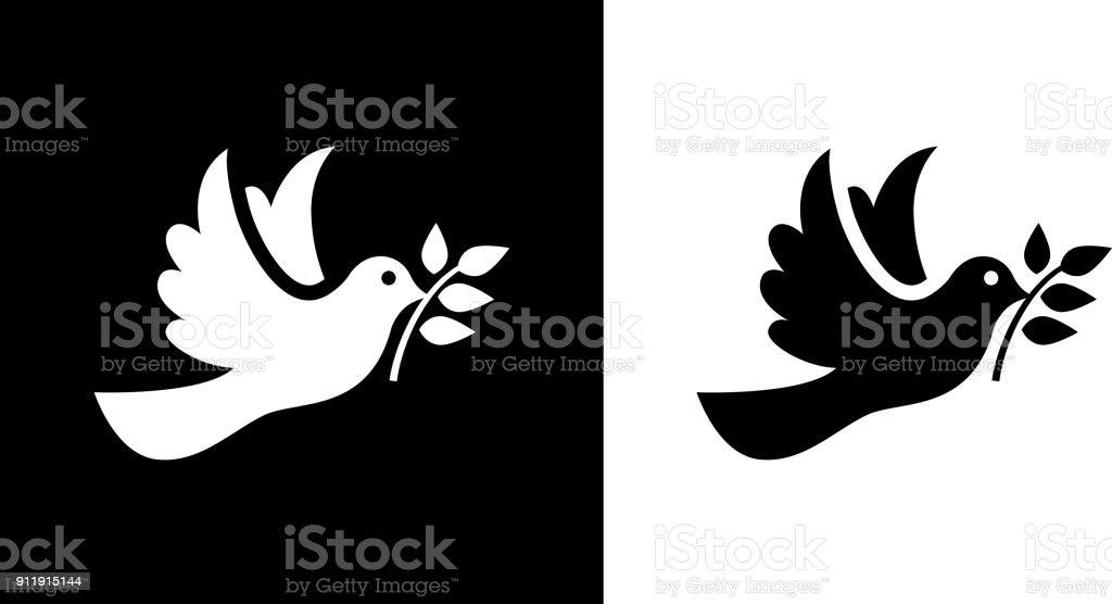 Taube Vogel-Symbol des Friedens. – Vektorgrafik