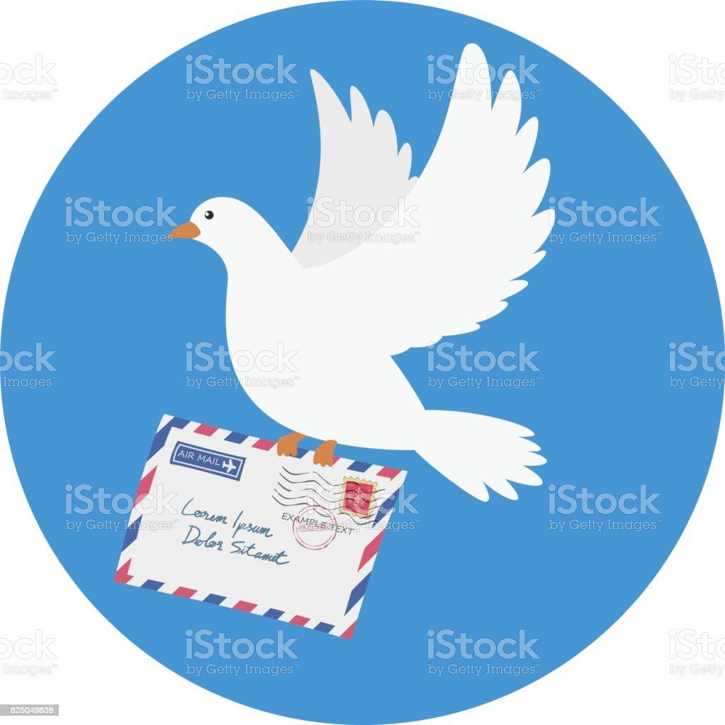 Dove carrying an envelope vector art illustration