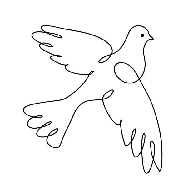 ilustrações de stock, clip art, desenhos animados e ícones de dove. continuous line art drawing. pigeon. vector logo illustration - um animal