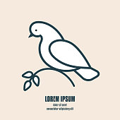 Abstract pigeon holding an olive branch. Symbol of peace and health care. Line style bird for concept design. Vector illustration.