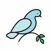Dove decorative label.