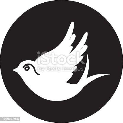 鳩は孤立したアイコンを描画 - お祝いのベクターアート素材や画像を多数ご用意 685660500