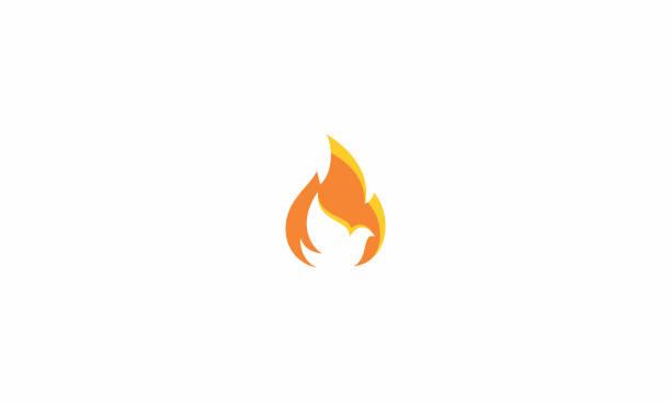 dove fire logo vector icon - духовность stock illustrations