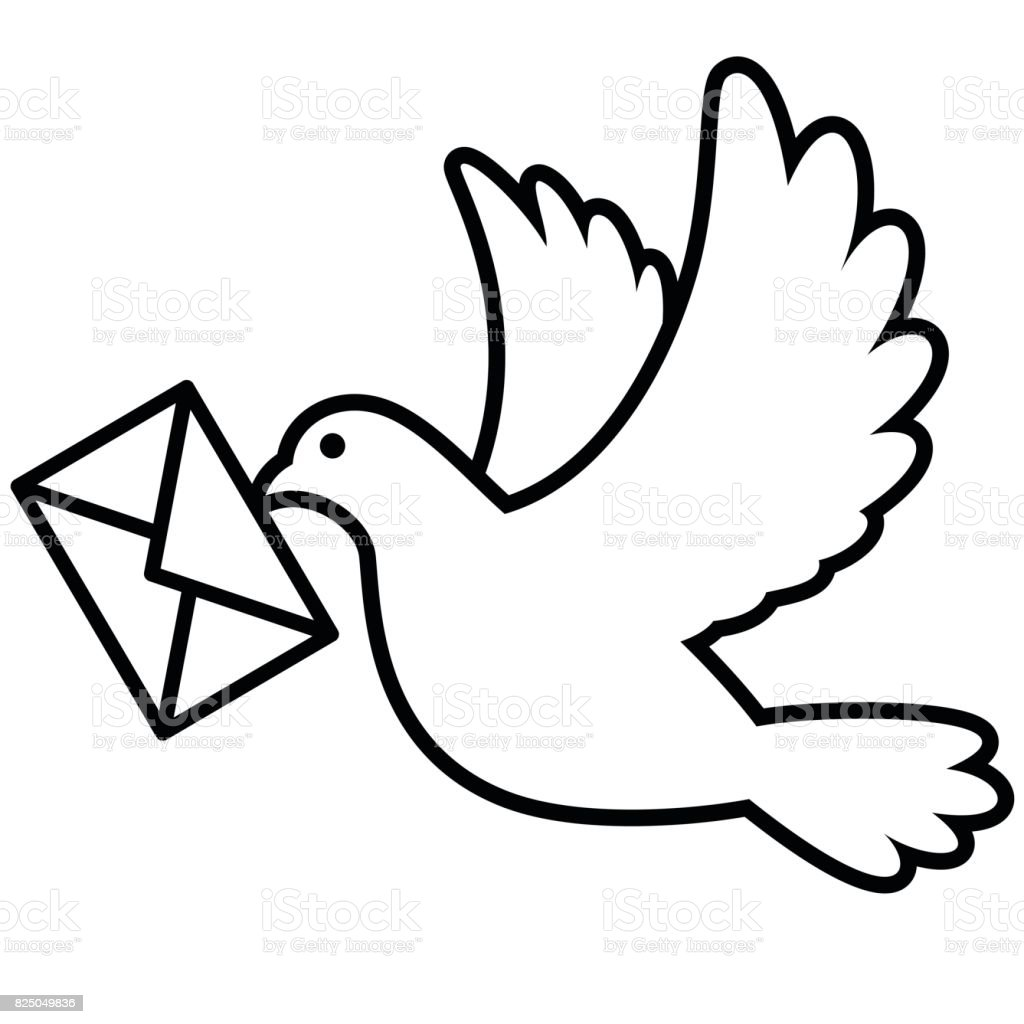 Dove flying with an envelope vector art illustration