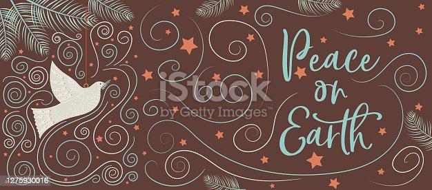 istock Dove Folk Art Christmas Banner 1275930016