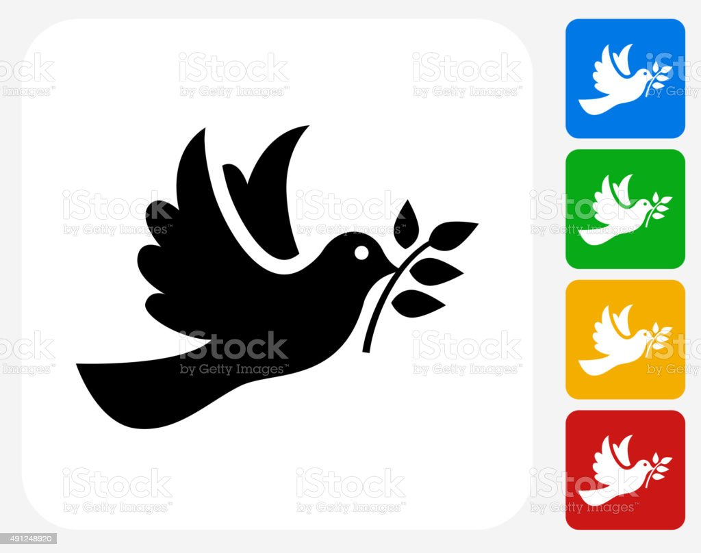 Dove Icon Flat Graphic Design vector art illustration