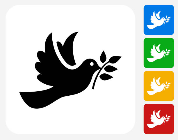Dove Icon Flat Graphic Design Dove Icon. This 100% royalty free vector illustration features the main icon pictured in black inside a white square. The alternative color options in blue, green, yellow and red are on the right of the icon and are arranged in a vertical column. bird symbols stock illustrations