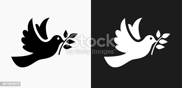 istock Dove Icon on Black and White Vector Backgrounds 831853670