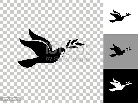 istock Dove Icon on Checkerboard Transparent Background 1227568219