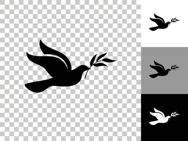 Dove Icon on Checkerboard Transparent Background vector art illustration
