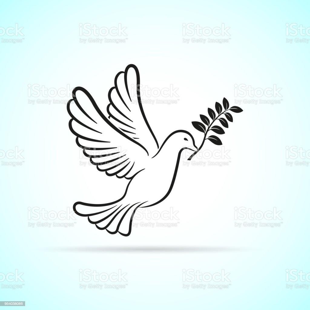 dove icon on white background vector art illustration
