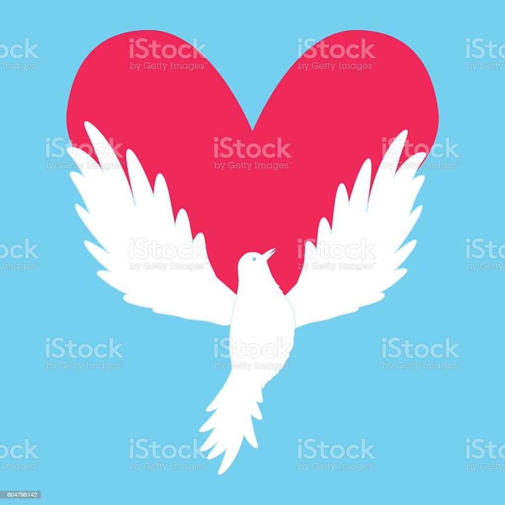 Dove icon with heart shape logo peace love template vector stock logo peace love template vector royalty free dove icon biocorpaavc