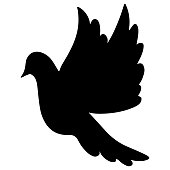 Dove in flight. Silhouette. Vector illustration. The bird flaps its wings. Dove - a symbol of peace. Isolated white background. Festive print, tattoo. Making greetings for Valentine day, wedding. Fly high to heaven.
