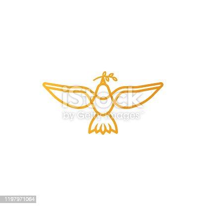 istock Dove logo icon Vector. Abstract Flying dove logo elegant silhouette design vector Line art style. 1197971064