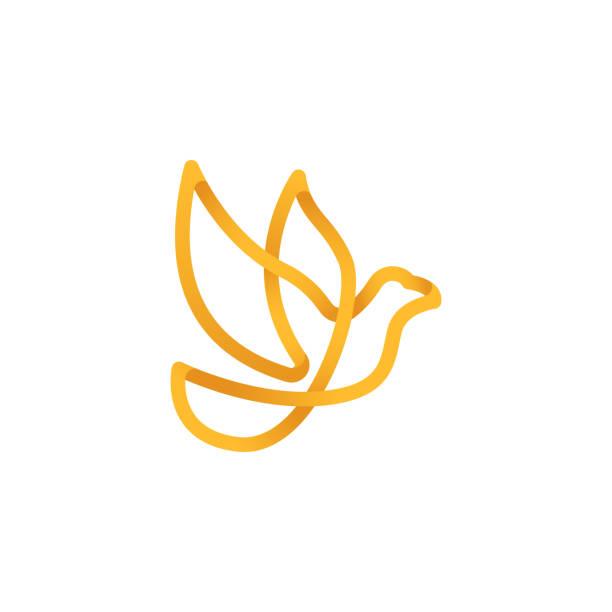 taube logo-symbol vektor. abstrakte fliegende taube logo elegante silhouette design vektor linie kunst stil. - gliedmaßen körperteile stock-grafiken, -clipart, -cartoons und -symbole