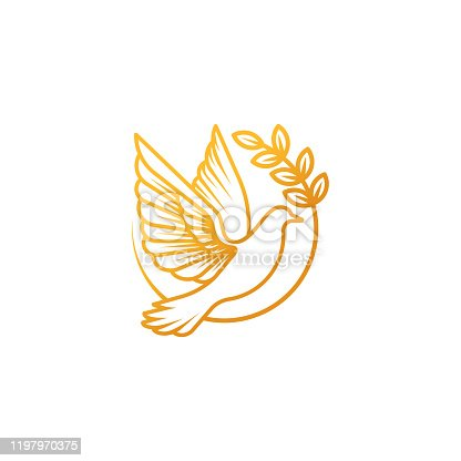 istock Dove Logo icon vector illustration. Abstract Line art of a flying dove with olive branch 1197970375