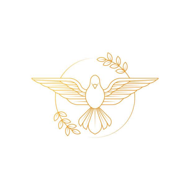 taube des friedens. illustration der fliegenden taube mit einem olivenzweig, der den frieden auf erdenden symbolisiert. - gliedmaßen körperteile stock-grafiken, -clipart, -cartoons und -symbole