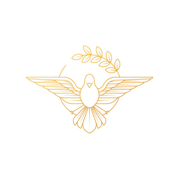 Dove Of Peace. Illustration of flying Dove holding an olive branch symbolizing peace on earth. Dove Of Peace. Illustration of flying Dove holding an olive branch symbolizing peace on earth. Line Art dove. Dove Logo Design. Line art for logo and design. Vector illustration. Peace logo. innocence stock illustrations